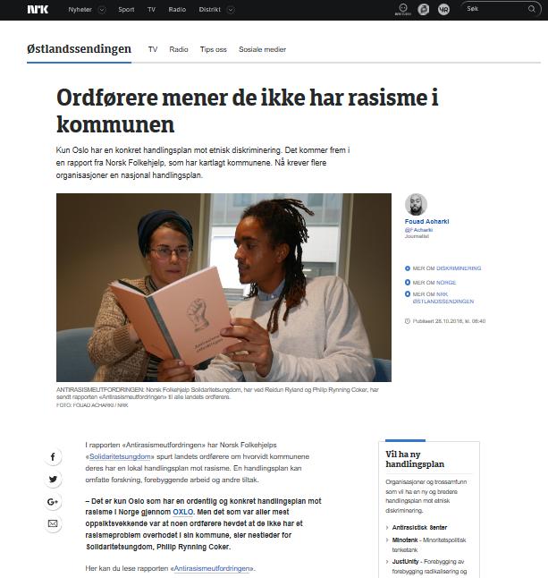 "Da Norsk Folkehjelps Solidaritetsungdom sendte ut rapporten ""Antirasismeutfordringen"" til alle landets ordførere"