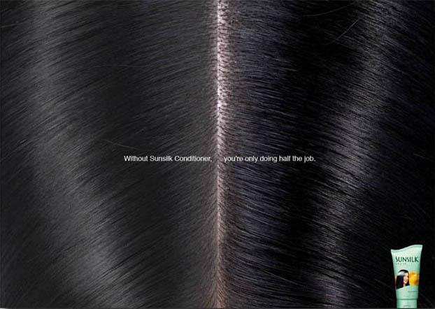 Without Sunsilk Conditioner, you're only doing half the job, sier annonsen. Skillen deler håret «på den ene siden og på den andre siden».