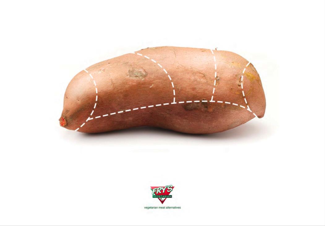 Frys vegetarisk mat viser en søtpotet, men henter den klassiske parteringsillustrasjonen fra kjøttbransjen.